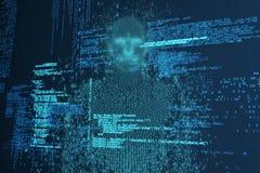 Zusammengesetztes Bild des zusammengesetzten Bildes des pixelated Mannes 3d Stockfoto