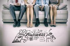 Zusammengesetztes Bild des zusammengesetzten Bildes des Geschäftstextes unter Ikonen Lizenzfreie Stockbilder
