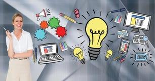 Zusammengesetztes Bild Digital der Geschäftsfrau verschiedene Ikonen gegen grauen Hintergrund bereitstehend vektor abbildung