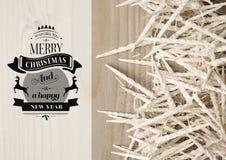 Zusammengesetztes Bild Digital der Mitteilung der frohen Weihnachten und des guten Rutsch ins Neue Jahr mit Kerzen Stockfotos