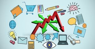 Zusammengesetztes Bild Digital von Pfeilzeichen und von Geschäftsikonen stock abbildung