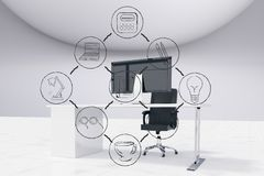 Zusammengesetztes Bild Digital von verschiedenen Ikonen und von Computer im Büro Stockfotos
