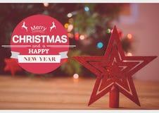 Zusammengesetztes Bild Digital von Wünschen der frohen Weihnachten und des guten Rutsch ins Neue Jahr Stockfoto