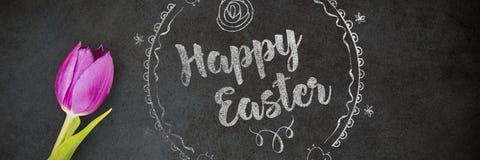 Zusammengesetztes Bild glücklichen roten Logos Ostern gegen einen weißen Hintergrund Stockbild