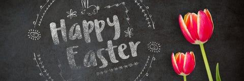 Zusammengesetztes Bild glücklichen roten Logos Ostern gegen einen weißen Hintergrund Stockfotografie