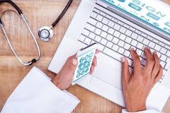 Zusammengesetztes Bild medizinischer APP lizenzfreie stockfotos