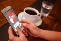 Zusammengesetztes Bild von beteiligen sich Text mit Ikonen Stockfotos
