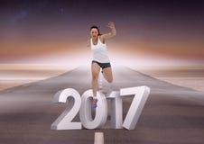 Zusammengesetztes Bild von 3D 2017 mit dem Sportmädchen, das auf Straße läuft Lizenzfreie Stockfotografie