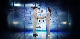 Zusammengesetztes Bild von den Geschäftsleuten, die Hände rütteln Lizenzfreies Stockfoto