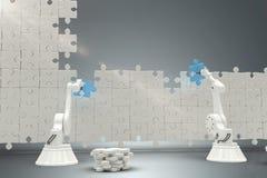Zusammengesetztes Bild von den Robotern, die zackige Stücke auf Puzzlespiel 3d vereinbaren Lizenzfreie Stockfotos