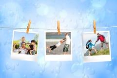 Zusammengesetztes Bild von den sofortigen Fotos, die an einer Linie hängen Lizenzfreie Stockfotografie