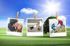 Zusammengesetztes Bild von den sofortigen Fotos, die an einer Linie hängen Stockbilder