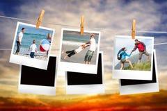 Zusammengesetztes Bild von den sofortigen Fotos, die an einer Linie hängen Stockfotos