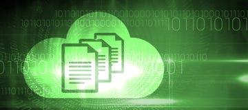Zusammengesetztes Bild von Dokumenten innerhalb der Wolke Stockfotos