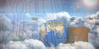 Zusammengesetztes Bild von Erde und von Pappschachtel des Planeten 3d gegen weißen Hintergrund Lizenzfreies Stockfoto