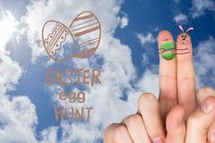 Zusammengesetztes Bild von Fingern als Osterhasen Stockfotos