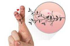 Zusammengesetztes Bild von Fingern kreuzte wie ein Paar Stockbilder