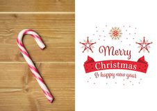 Zusammengesetztes Bild von frohen Weihnachten und von guten Rutsch ins Neue Jahr wünscht mit Zuckerstange Stockbilder