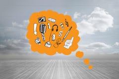 Zusammengesetztes Bild von Gekritzeln in der orange Gedankenblase Lizenzfreie Stockbilder