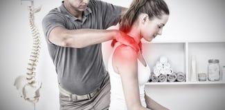 Zusammengesetztes Bild von hervorgehobenen Schmerz lizenzfreies stockfoto