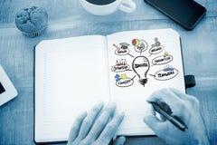 Zusammengesetztes Bild von Mannschreibensanmerkungen über Tagebuch Lizenzfreies Stockfoto