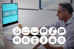 Zusammengesetztes Bild von mehrfachen blauen Ikonen Lizenzfreie Stockfotos