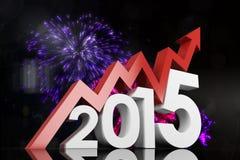 Zusammengesetztes Bild von 2015 mit rotem Pfeil Lizenzfreie Stockfotografie