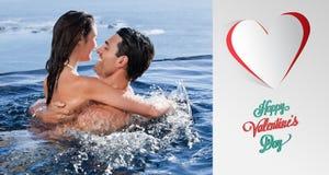 Zusammengesetztes Bild von netten Valentinsgrußpaaren Lizenzfreie Stockbilder