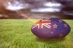 Zusammengesetztes Bild von Neuseeland-Rugbyball Lizenzfreies Stockbild