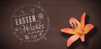 Zusammengesetztes Bild von Ostern wünscht Logo gegen schwarzen Hintergrund Stockfotos