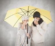 Zusammengesetztes Bild von Paaren im Winter arbeiten das Niesen unter Regenschirm um Lizenzfreie Stockbilder