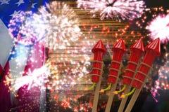 Zusammengesetztes Bild von Raketen 3D für Feuerwerke Lizenzfreie Stockbilder