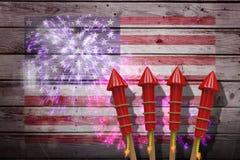 Zusammengesetztes Bild von Raketen 3D für Feuerwerke Stockbild
