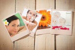 Zusammengesetztes Bild von Schlagblumenblumenblättern der schönen glücklichen Frau in der Badekurortmitte Stockfotos