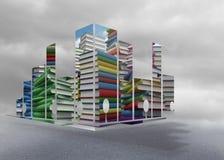 Zusammengesetztes Bild von Stapel von Büchern auf abstraktem Schirm Stockfoto