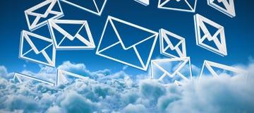 Zusammengesetztes Bild von Symbolen der geketteten Nachricht lizenzfreie abbildung
