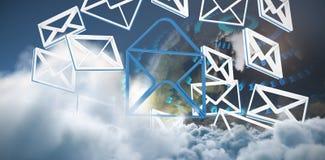 Zusammengesetztes Bild von Symbolen der geketteten Nachricht vektor abbildung