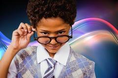 Zusammengesetztes Bild von tragenden Gläsern des Schülers Stockbilder