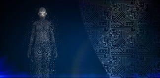 Zusammengesetztes Bild von in voller Länge der digitalen pixelated Frau 3d Stockbild