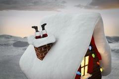 Zusammengesetztes Bild von Weihnachtsmann-Stiefeln Lizenzfreie Stockbilder