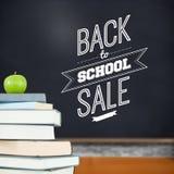 Zusammengesetztes Bild zurück zu der Schulverkaufsmitteilung Stockfotos