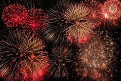 Zusammengesetztes Bildbilden von Feuerwerken stockbild