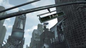 Zusammengestoßen und von Time Square New York Manhattan nah oben ruiniert Wiedergabe 3d Lizenzfreie Stockfotografie