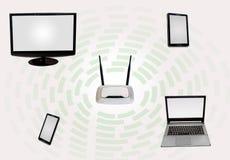 Zusammenhangzone des drahtlosen Internets mit Routerintelligentem Telefon des Tischplattenmonitorlaptop-Vorsprunges im Weiß Lizenzfreies Stockfoto