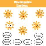 Zusammenpassende Kinder Lernspiel, Matchsonne und Stimmung Lernen von Gefühlen und von Vokabularthema vektor abbildung