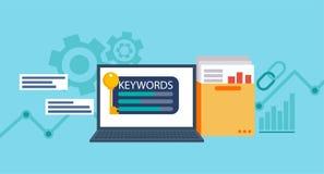 Zusammenpassendes Programm des Schlüsselwortwerkzeug-Wortes Laptop mit einem Ordner von Dokumenten und Diagramme und Schlüssel Lizenzfreies Stockfoto