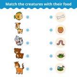 Zusammenpassendes Spiel für Kinder, Tiere und Lieblingslebensmittel Stockfotografie