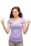 Zusammenpressende Fäuste der jungen Frau Lizenzfreies Stockfoto