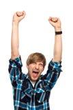 Zusammenpressende Fäuste des jungen Mannes Lizenzfreies Stockfoto