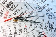 Zusammensetzung der Borduhr und des Kalenders Stockbilder